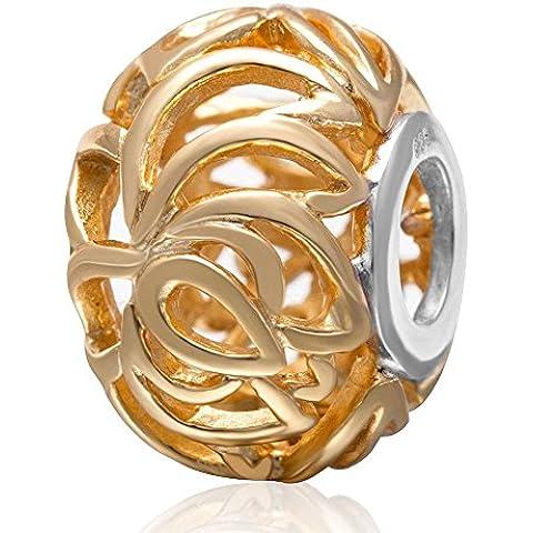 Soulbead traforata, placcato in oro con ciondolo in argento Sterling 925 con perline europea per 3 mm-Bracciale con catena a serpente