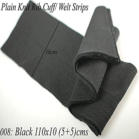 Neotrims Knit Rib Cuff Waistband Plain Stretch Trimming, Bomber Jackets Ribbing Welt and Neck Band Ribs for Jackets, Bombers, or any Apparel Garments Edging. Stretch Resilient Ribs. Limited Stocks, Supplied as 2 Strips, Great Value! - #008 Black 110X10Cm