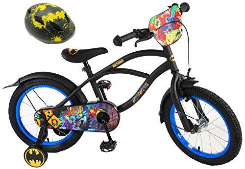 Batman Kinderfahrrad 16 Zoll mit Rücktrittbremse + Kinder Fahrradhelm Deluxe Gr. 51-55 cm verstellbar im Sparset