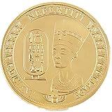 AmaMary Gedenkmünzen, Gold Plated altägyptischen Königin Nofretete Gedenkmünze Sammlung (1 Stück Gold)