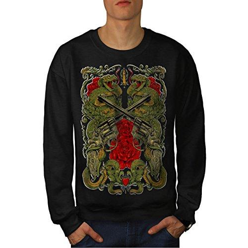 Drachen Gewehr Rose Gangster Herren M Sweatshirt | (Kostüm Gesellschaft In Vancouver)