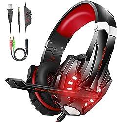 VersionTECH G9000 - Auriculares gaming estereo con micrófono - PS4, Nintendo, Xbox, Wii, PC - Rojo