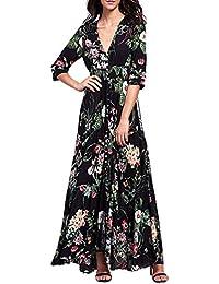 FORH Damen Sommerkleid Strandkleid Oberteile Sexy Elegant Gedruckt Blumen  Böhmen Kurzarm Maxi Kleid Modisch Party Abendkleid 8284f2e694