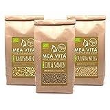 Bio Chia Samen kaufen! MeaVita Superfoods Set kaufen: Bio Chia Samen + Bio Hanfsamen + weißen Bio Quinoa kaufen! (3 x 1 kg)