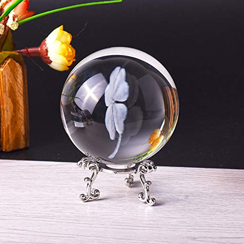 KYZZ 6cm 3D Laser gravierte vierblättriges Kleeblatt-Kristallkugel Miniatur-Glas-Kugel Kristall-Fertigkeit Home Decor Lucky Ball Ornament Geschenk (Color : with Silver Base) -