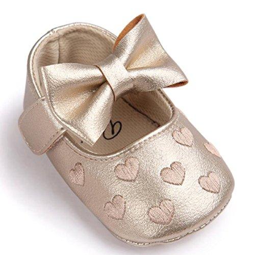 Vovotrade Baby Bowknot-Lederschuhe Sneaker Anti-Rutsch-weiche Sohle Kleinkind (Size:11, Gold) Gold
