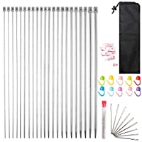 nuoshen 43 Pieces Knitting Needle Set, 2mm(B)-8mm(L) Stainless Steel Single Pointed Knitting, Locking Stitch Makers Large-Eye Blunt Needles with Measure Tape and Knitting Needles Case Bag