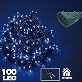 Bakaji Catena Luminosa 100 Luci LED Lucciole Blu 6,5 Metri Prolungabile per uso Interno, Luci di Natale Cavo Verde Decorazioni per Albero di Natale