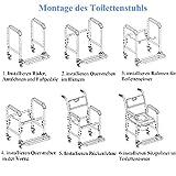 HENGMEI Rollstuhl Fahrbarer Toilettenstuhl Duschstuhl Nachtstuhl auf Rollen Transportrollstuhl 360°C Drehbar mit Feststellbremse (Modell A, 360°C Drehbar) Test