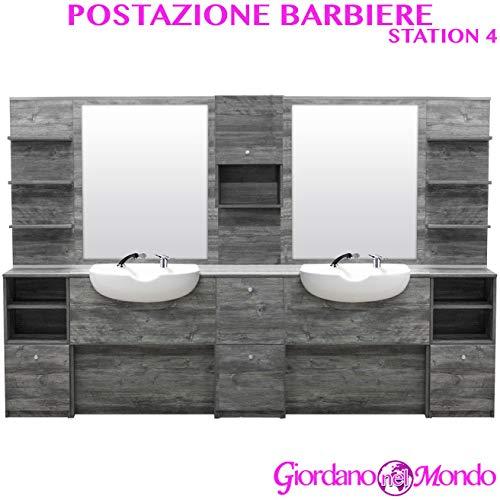 Postazione da barbiere completa di 2 specchi, 2 vasche, 2 doccette e 2 miscelatori professionale