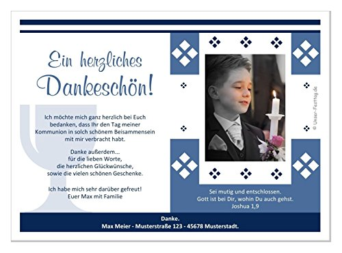 Kommunion Danksagungen - eigener Text wird eingedruckt, für Junge Jungs (mit oder ohne Foto) - 40 Karten, Größe 17 x 12 cm
