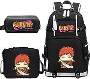 Naruto Anime Backpack for Boys Girls Children School Bags Student Bookbag Kids Travel Bagpacks with Lunchbag+P