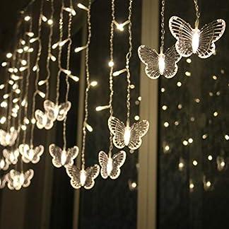 tianranrt LED mariposa Cuerda Luz impermeable cortina Navidad, vacaciones decoración lámpara