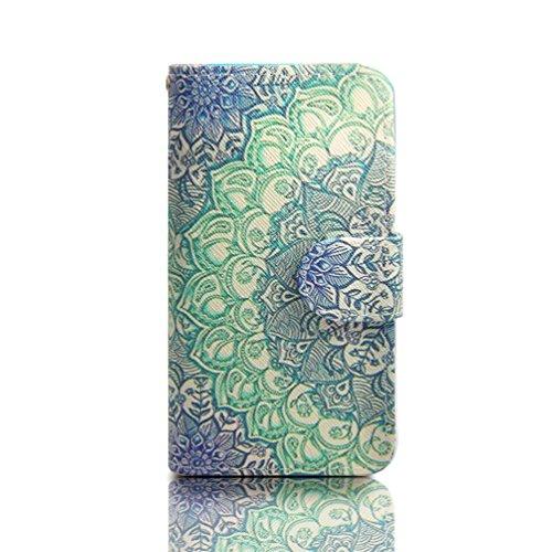 Samsung S3 Lederhülle ,PU Leder Wallet Case Folio Schutzhülle für Samsung Galaxy S3 I9300 / S3 Neo Etui Tasche Handyhülle Schale Flip Cover (grüne Blume)