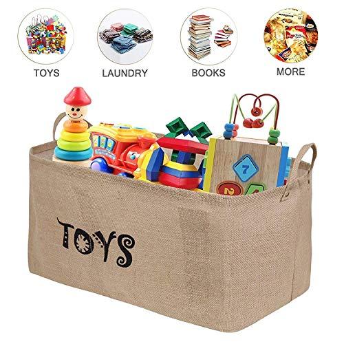 Tougo 22 pollici iuta cesto contenitore per giocattoli organizer scatola porta oggetti versatile