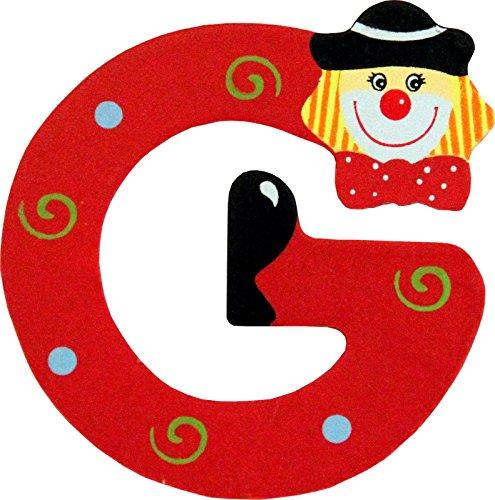 Holzbuchstaben und Zahlen- Clowns - mit Klebepad in zufälliger Farbe - Rimini Baustoffe® - Ideal für Türen und Schränke (Buchstabe G)