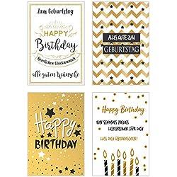 Set 4 exklusive Geburtstagskarten mit feiner Goldprägung und Umschlag. Glückwunschkarte Grusskarte zum Geburtstag. Geburtstagskarte Karte Mann Frau (Doppelkarten/Klappkarten mit Briefumschlag)