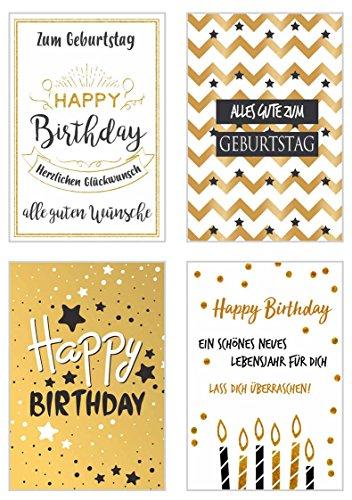 Set 4 exklusive Geburtstagskarten mit feiner Goldprägung und Umschlag. Glückwunschkarte Grusskarte zum Geburtstag. Geburtstagskarte Karte Mann Frau