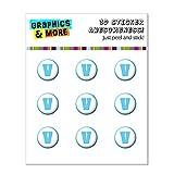 Lettre V Initiale de bloc de bébé garçon Police Bleu de douche Home Button Stickers pour Apple iPhone (3G, 3GS, 4, 4S, 5, 5C, 5S), iPad (1, 2, 3, 4, Mini), iPod Touch (1, 2, 3, 4, 5)