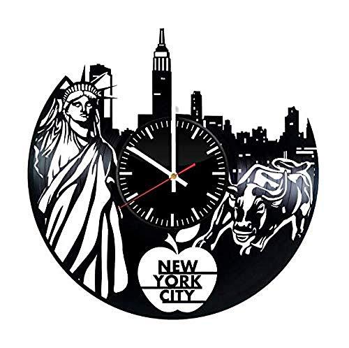 AIYOUBU New York City Vinyl WanduhrSchallplatte handgemachte Kunst Dekor für Home Room KücheVintage Original Geschenk für jeden AnlassParty Supplies Dekoration (New York City, Party Supplies)