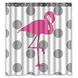Violetpos Duschvorhänge Grau Weiß Polk Punkte Rosa Flamingo Duschvorhang Badezimmer Dekorative 120 x 180 cm