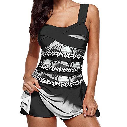 et Sexy Badeanzug Badebekleidung Schwimmen Gepolsterter Tankini Swimdress Badeanzug Beachwear in Übergröße Unterwäsche (T-Y-Schwarz, XL) ()