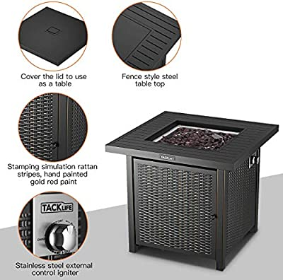 Tacklife Propane Fire Pit Table Outdoor Companion 28 Inch 50000 Btu Auto-ignition Outdoor Gas Fire Pit Table With Cover Csa Certification For Gardencourtyard Balcony Terrace And Barbecue by TACKLIFE