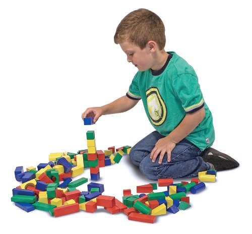 Melissa & Doug Wooden Building Blocks Set - 100 Blocks in 4 Colours and 9 Shapes