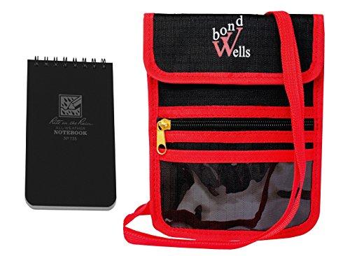 Wellsbond Reisepasshülle mit RFID-Schutz, 12 Taschen, Rot/Schwarz (Hals Passport-halter Für Männer)