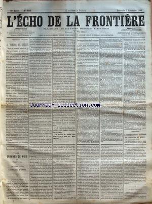 ECHO DE LA FRONTIERE (L') [No 9849] du 07/11/1880 - LE TRIBUNAL DES CONFLITS - LES EXPULSIONS DE TOULOUSE - POURQUOI LES RELIGIEUX RESISTENT - FEUILLETON / LES ERRANTS DE NUIT PAR PAUL FEVAL