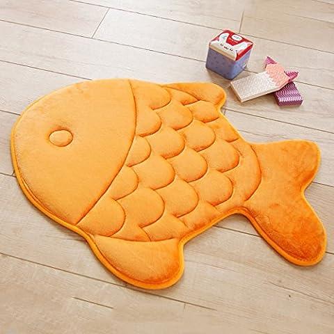 HAPLY Non-slip Soft Kid Bedroom Livingroom Mat Rug Comfortable Fish Shape Pattern 15 x 47