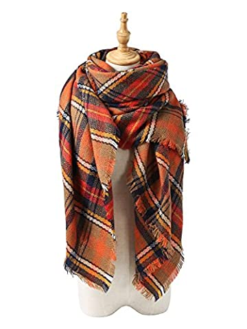 YYWING Multicolored Checked Scarves Wraps Wool Spinning Tassel Shawl Scarf