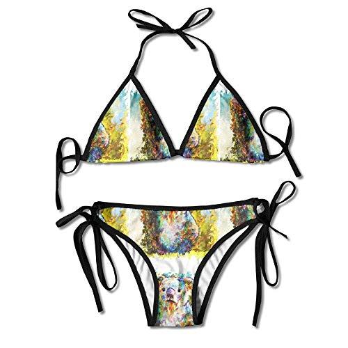 Hoklcvd Sexy Women Koala Sexy Bikini Set Swimsuit Bathing Suit Halterneck Triangle Swimwear -