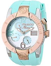 Mulco de mujer reloj de pulsera 46mm Pulsera Silicona Azul Gehà ¤ Use Acero Inoxidable Suiza Cuarzo Analog MW5–1877–433