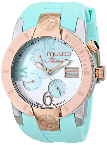 Mulco donna 46 mm Blue silicone Band Steel case Swiss Quartz Analog Watch MW5 – 1877 – 433