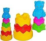 XL- Steckpyramide - Kunststoff mit Aufsätzen - Teddy Steckspiel Baby / Sortierspiel Motorik Pyramide groß - Motorikspiel zum Stecken für Kinder - Motorikspielzeug