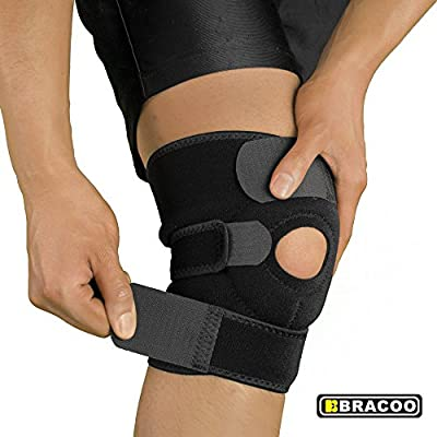 Bracoo Knee Support, Open-Patella Stabilizer with Adjustable Strapping & Extra-Thick Breathable Neoprene Sleeve