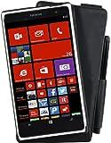 Perfect Case exklusive Flip Echtleder Tasche mit Stifthalterung für Nokia Lumia 625 schwarz