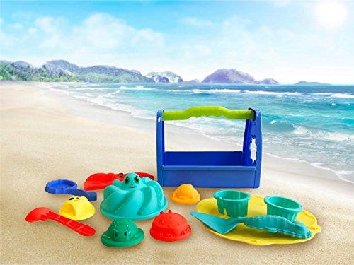 Sandkastenspielzeug Strandspielzeug Set Sandspielzeug Eimergarnitur für Kinder / Jungen und Mädchen / Schaufel, Rechen, Tragekiste, Sandformen wie Tiere, Teller (Eimergarnitur mit Henkel) …