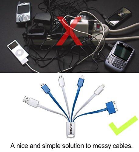 Chafon ultime premio 6 in 1-multi-Cavo USB di ricarica adattatori Fast Connettore a breve Illuminazione 8 Pin/30 Pin/Micro USB/Mini USB per iPhone, 6s, 6s Plus, iPhone 6 6 Plus, 5/5S/5C,