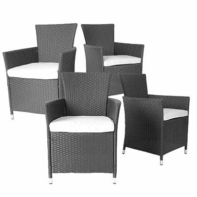4er Set Polyrattan Stühle - bequeme Gartenmöbel Sessel inkl. Sitzkissen, verschiedene Farben von Miadomodo®