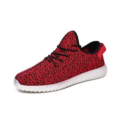 iBaste LED Sportschuhe für Herren Damen USB Aufladen 7 Lichtfarbe 11 Beleuchtenmodi Sport Schuhe Kinder Jungen Mädchen Laufschuhe Leuchtend Sneaker Turnschuhe Unisex Rot