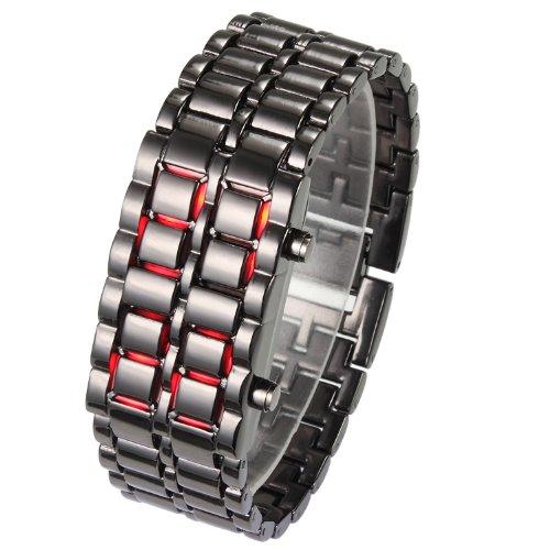 vogue-led-volcanic-lava-faceless-metallic-bracelet-unisex-wrist-watchcoolnew-black-bracelet-red-led