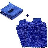Mikrofaser Autowaschhandschuh,YKEZHU 2 Stück Wasserdicht weicher Mikrofaser Chenille Korallen Waschhandschuhe und 1 Stück Microfasertuch Set für Autowäsche, Haushalt