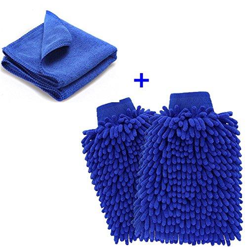 Chenille-2 Stück (Mikrofaser Autowaschhandschuh,YKEZHU 2 Stück Wasserdicht weicher Mikrofaser Chenille Korallen Waschhandschuhe und 1 Stück Microfasertuch Set für Autowäsche, Haushalt)