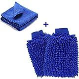 YKEZHU (2 unidades) Chenille limpieza del coche Mitt cepillo Guante, Guante Microfibra de Limpieza Lavado para Coche Cocina Hogar (Azul)