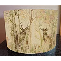 Handmade Lampshade made with Voyage Fabric in Enchanted Forest Stag Deer Lamp Shade Light