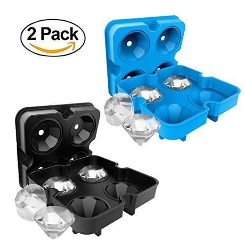 Eiswürfel-Formen, wiederverwendbar, lebensmittelechtes Silikon, BPA-frei, Ice, mit Deckel, für Getränke, Cocktails, Whiskey, Schwarz/Blau, 2Stück