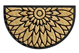 BigDean Fußabtreter Außen Fußabstreifer Kokos Fußmatte Gummi halbrund Sonnenblume 45x75 cm Rutschfest 3 cm Dicke Premiummatte