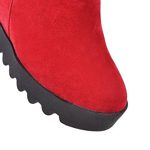 VogueZone009 Donna Alta Altezza Puro Cerniera Punta Tonda Tacco Alto Stivali con Metallo Rosso